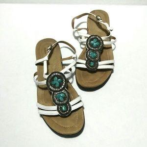 Clarks Artison White Turquoise Beaded Sandals